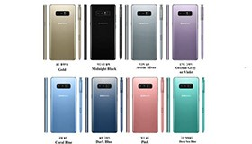 Samsung Galaxy Note 8 sẽ có 8 phiên bản màu sắc khác nhau cực đẹp