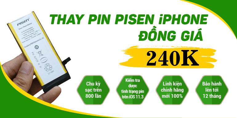 Thay Pin Pisen iPhone đồng giá 240k tại 24hstore