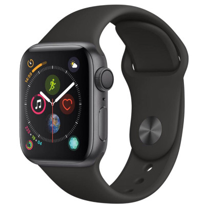 apple watch series 4 gps - mat nhom - day cao su - 44mm - cu - den