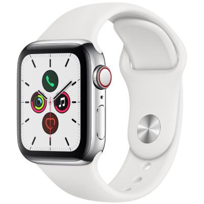 apple watch series 5 - 40mm - gps - mat nhom, day cao su bac