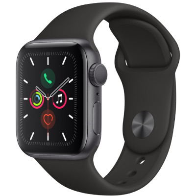 apple watch series 5 - 40mm - gps - mat nhom, day cao su den