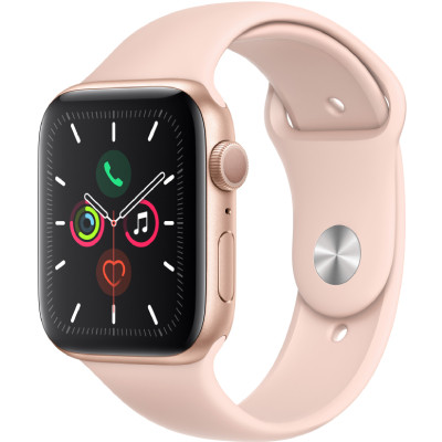 apple watch series 5 - 44mm - lte - mat nhom, day cao su vang hong