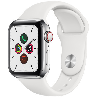 apple watch series 5 - 44mm - gps - mat nhom, day cao su trang