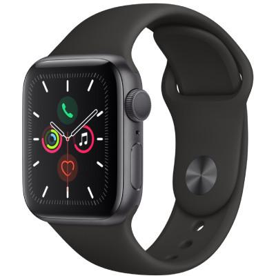 apple watch series 5 - 44mm - gps - mat nhom, day cao su den