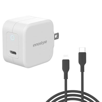 Combo Sạc nhanh Innostyle USB-C PD 20W Minigo III và Cáp Innostyle Jazzy USB - C to Lightning Cable 1.2M