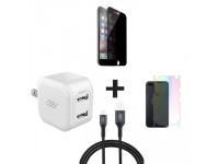 Combo iPhone 7 Plus/8 Plus Đen (Cốc 12W + Cáp U to L INNOSTYLE + Dán Full + PPF)