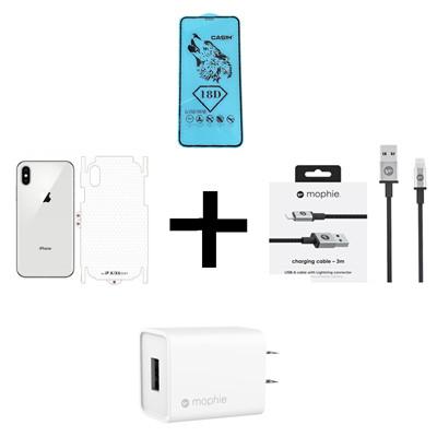 Combo iPhone X/XS (Cốc 10W + Cáp U to L MOPHIE + Dán Full + PPF)