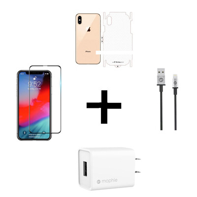 Combo iPhone Xs Max (Cốc 10W + Cáp U to MOPHIE + Dán Full + PPF)