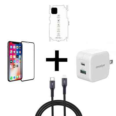 Combo iPhone 11 (Cốc 20W + Cáp C to L INNOSTYLE + Dán Full + PPF)