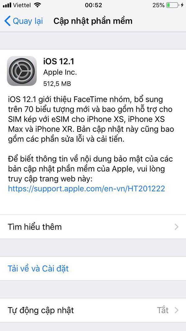 cai dat ios 12.1 chinh thuc cho iphone, ipad